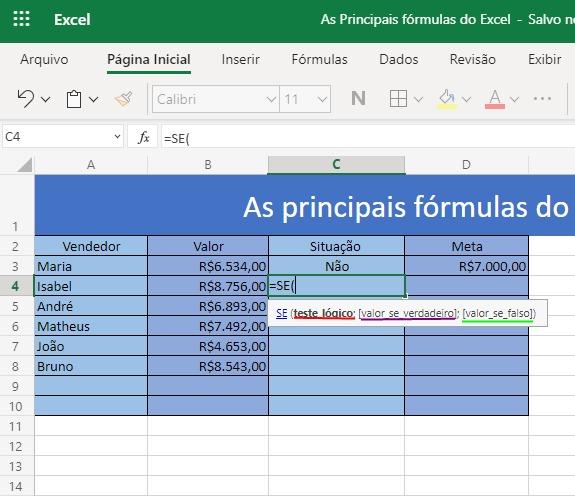 Saiba como utilizar as 3 principais fórmulas do Excel 4