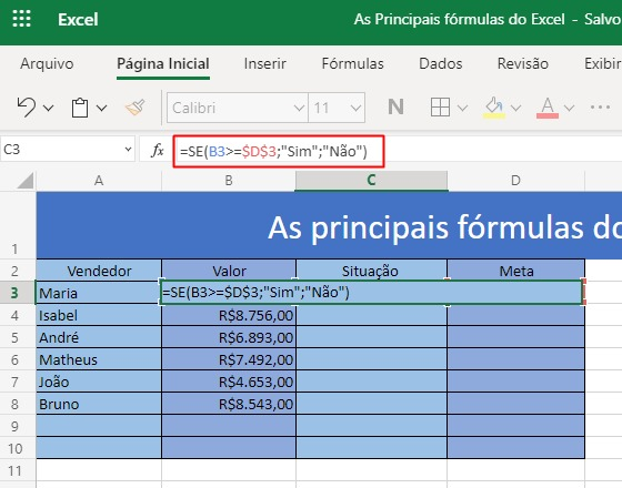Saiba como utilizar as 3 principais fórmulas do Excel 5