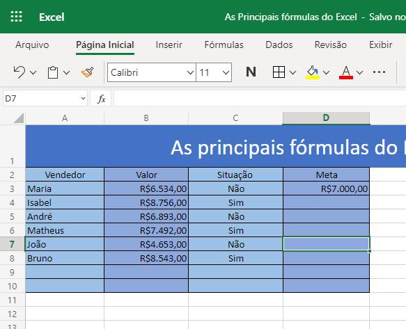 Saiba como utilizar as 3 principais fórmulas do Excel 6